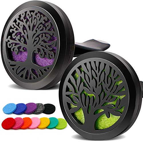 RoyAroma 2PCS Tree of Life Car Diffuser Aromatherapy Essential Oil Diffuser Black Stainless Steel Locket Air Freshener with Vent Clip 12 Felt Pads
