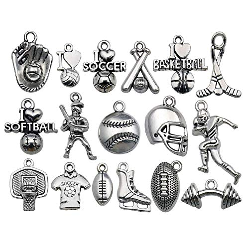 WOCRAFT 50pcs Wholesale Bulk Lots Ball Game Sports Charms for Jewelry Making Mixed Smooth Tibetan Silver Metal Charms Pendants DIY for Jewelry Making Necklace Bracelet and Crafting M352