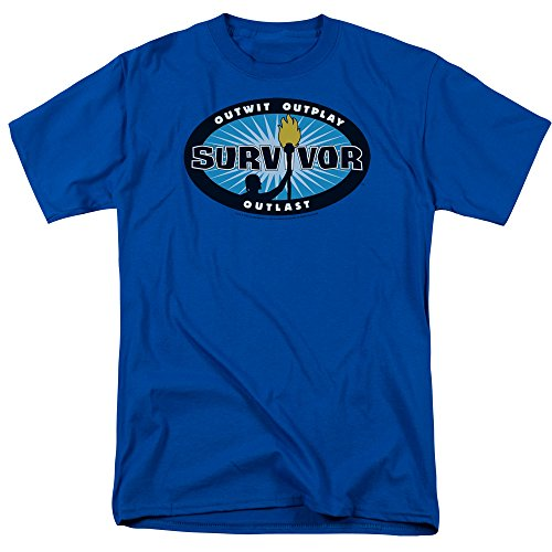 Survivor CBS TV Television Show Blue Burst Tee Adult Unisex Soft Mens T-Shirt (Large)