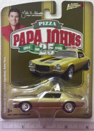 New Johnny Lightning Papa Johns Pizza 1971 Gold Chevy Camaro Z28 Die Cast Replica 1:64 Scale Papa Johns Car
