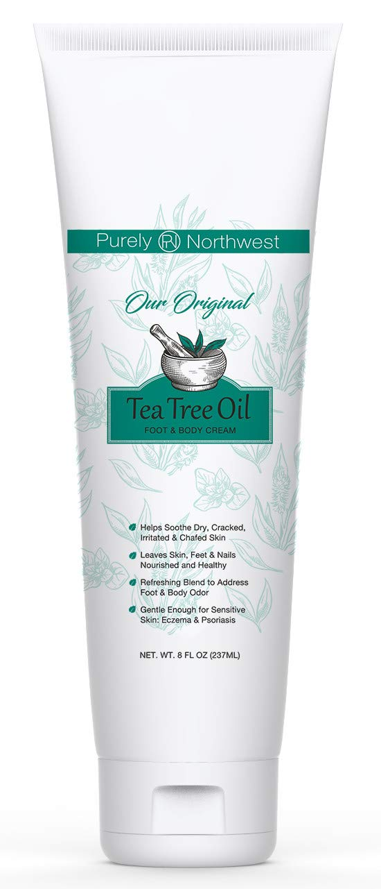 Purely Northwest Tea Tree Foot & Body Cream 8oz.- Moisturizes and Hydrates Severely Dry, Cracked, Calloused Skin-Formulated for Sensitive Skin-Psoriasis, Eczema and Dermatitis by Purely Northwest