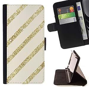Líneas del brillo del oro Beige Parallel Pattern- Modelo colorido cuero de la carpeta del tirón del caso cubierta piel Holster Funda protecció Para Sony Xperia Z3 Compact / Z3 Mini (Not Z3)