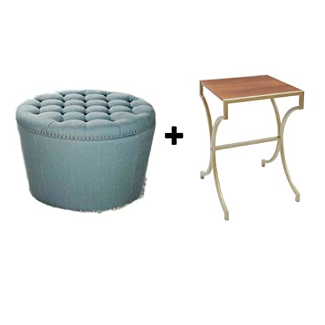 Peachy Better Homes And Gardens Stylish And Functional Round Tufted Storage Ottoman With Nailheads Aqua With Accent Table Evergreenethics Interior Chair Design Evergreenethicsorg