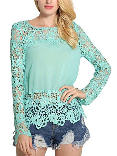 Minetom Women Summer Elegant Floral Lace Crochet Long Sleeve Tops Slim Fit Wrap Solid T-shirt Patchwork Hollow Out Blouse Light blue US 4