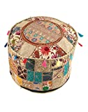 RAJRANG Home Décor Art Ottoman Pouf Cover Pouffe Decorative Foot Stool Covers Handmade Cotton Living Room Pouf Ottomans Round Comfortable Embroidered PatchWork Floor Cushion By