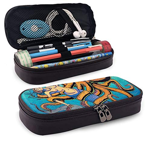 WONDER 4 Pencil Case Mermaid Octopus Big Capacity Storage PU Leather Pencil Pouch Stationery Organizer Multifunction Cosmetic Makeup Bag -
