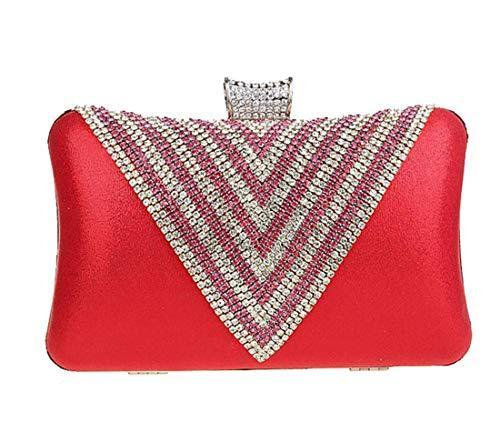 Sacs Chaîne Soirée rhinestone de Femmes Sac Diamants Paillettes Luckywe Mariage De Rouge Parti Petit wXx57qRSx