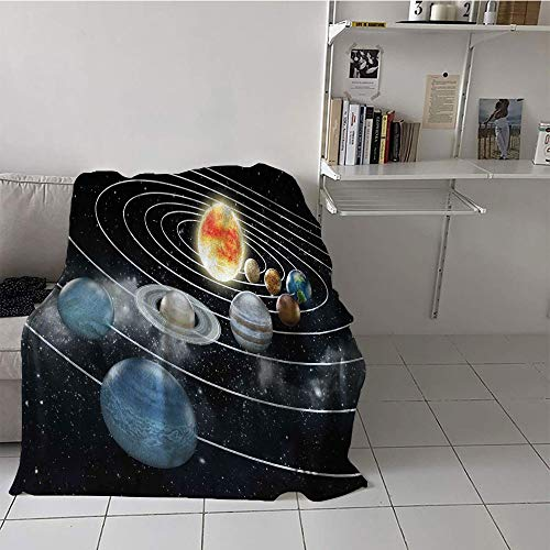 Khaki home Children's Blanket Summer Lightweight All-Season Blanket (60 by 80 Inch,Galaxy,Solar System All Eight Planets and The Sun Pluto Jupiter Mars Venus Science Fiction,Black Grey -