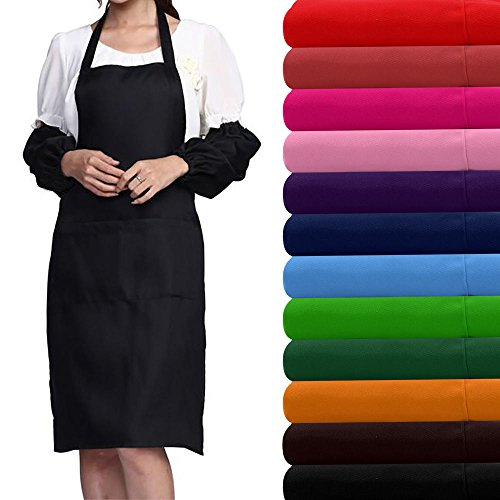 Price comparison product image Plain Apron with Pocket for Chefs Cook Butchers Kitchen Cooking Craft Baking Cake Decorating