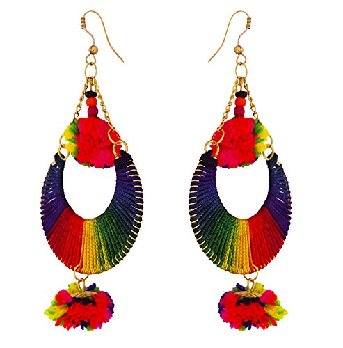 Ghoomar Indian Fashion Dangle Earring Women Designer Multicolor Pom Pom Earrings - Link Multi Colored Earrings