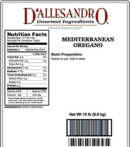 Mediterranean Oregano, 15 Lb Bag by Woodland Ingredients