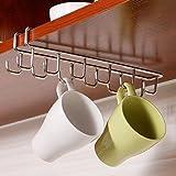 MAXGOODS Stainless Steel Hanging Organizer,Kitchen Storage Rack Cupboard Hanging Hook Mug Cooker Cutlery Storage Holder Dish Hanger,12 Hooks 27x7.5CM