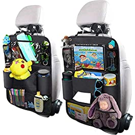 Heyham Backseat Car Organizer, Kick Mats Car Back Seat Protector with Touch Screen Tablet Holder Tissue Box 8 Storage Pockets for Toys Book Bottle Drinks Kids Baby Toddler Travel Accessories, 2 Pack