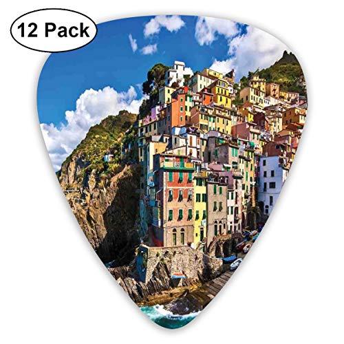 Guitar Picks 12-Pack,Italian Mediterranean House By Cliffs Dramatic Weather Sea Cinque Terre Print