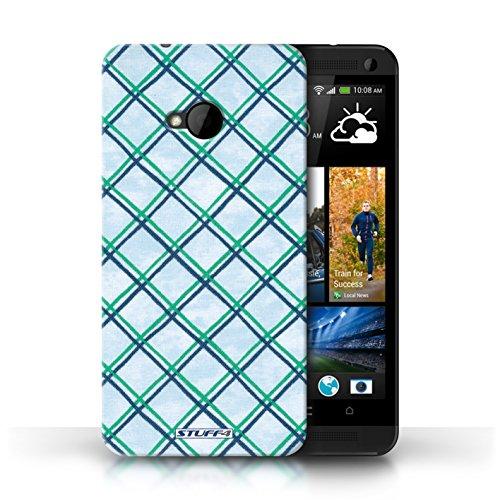 Etui / Coque pour HTC One/1 M7 / Vert/Bleu conception / Collection de Motif Entrecroisé