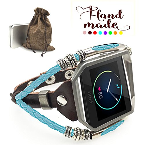 Marval.P Compatible Fitbit Blaze Bands, Handmade Leather DIY Band, Replacement Bracelet Strap, Wristbands with Adjustable Size, Fashion Wrist Band Straps