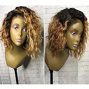Ten Chopstics 1BT27 Ombre Short Curly Human Hair Wigs for Black Women Lace Front Wigs with Baby Hair Two Tone Bob Full Glueless Lace Wigs Bleached Knots 100% Virgin Brazilian Hair Wigs Side Part Stock