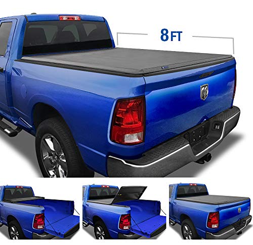 Tyger Auto Black Top T3 Soft Tri-Fold Truck Tonneau Cover for 2002-2019 1500 2003-2018 Dodge 2500 3500 2019 Classic Only Fleetside 8' Bed Without Ram Box TG-BC3D1012