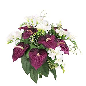 OKSLO Admired by Nature Artificial Anthurium and Freesia Mixed Flowers Bush 80