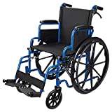 LIVINGbasics™ Light Weight Wheelchair with Flip Back Desk Arms, Swing Away Footrests, 18-Inch Seat Width, Foldable, Weight Capacity: 265lb (120kg)