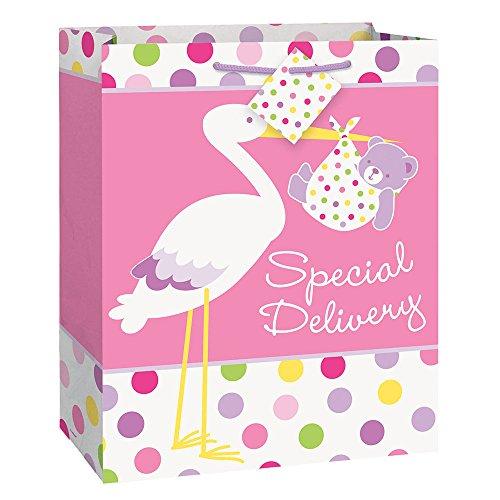 Large Pink Stork Baby Shower