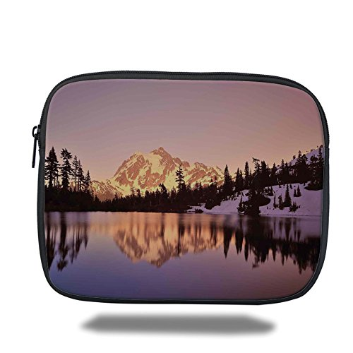 - Laptop Sleeve Case,Lake House Decor,Snow Capped Mt Shuksan and Lake at Sunset Evening View National Forest Washington,Yellow Purple,iPad Bag