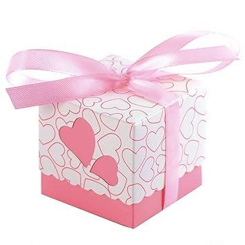 JZK 50 x Rose cajas de corazón cajita regalo bautizo con cinta para caramelos regalo bombones recuerdos bautizos bodas para boda cumpleaños fiesta ...