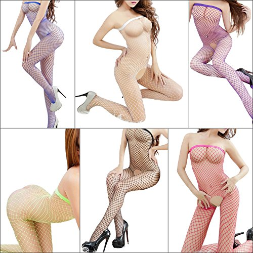 TrendBox 7 Packs (7 Colors) Sexy Women Sexy Fishnet Bodystocking Corest Mesh Lingerie Open Crotch Sleeveless Nightwear Sleepwear One Piece (Color Fishnet)