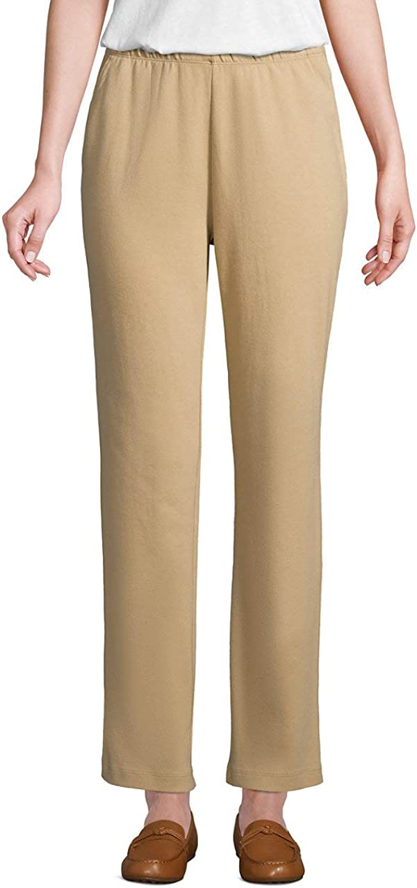 Lands' End Women's Sport Knit High Rise Elastic Waist Pull On Pants at  Women's Clothing store