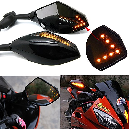 Motorcycle LED Turn Signal Rear View Mirrors with Arrow For Honda Suzuki Racing Bike Sport Bike ()