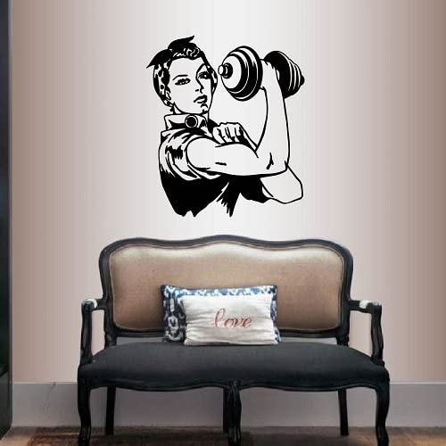 Wall Vinyl Decal Home Decor Art Sticker Woman Lifting Weights Sports Gym Fitness Retro Room Removable Stylish Mural Unique Design