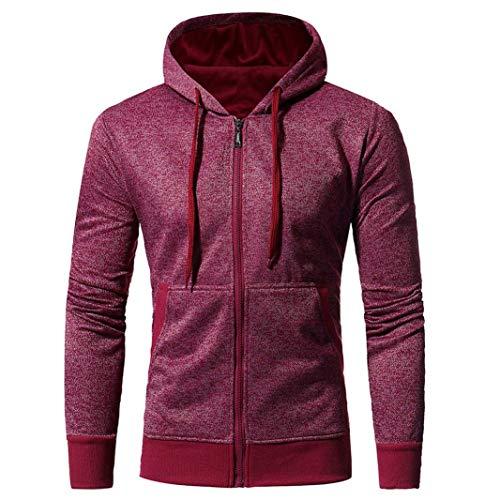 FORUU Men Retro Long Sleeve Zipper Hooded Sweatshirt Tops Jacket Coat Outwear ()