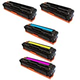 HI-VISION HI-YIELDS ® Compatible Toner Cartridge Replacement for Hewlett-Packard (HP) CB540A CB541A CB542A CB543A (2 Black,1 Cyan, 1 Yellow, 1 Magenta, 5-Pack)