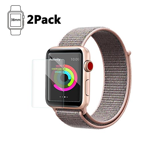 38mm Apple Watch Screen Protector, Celltronics 2-Pack Tempered Glass Screen Protector, Anti-Scratch Bubble Resistant 0.3mm Screen Film for 38mm iWatch Series 1/2/3 from Cell-Tronics