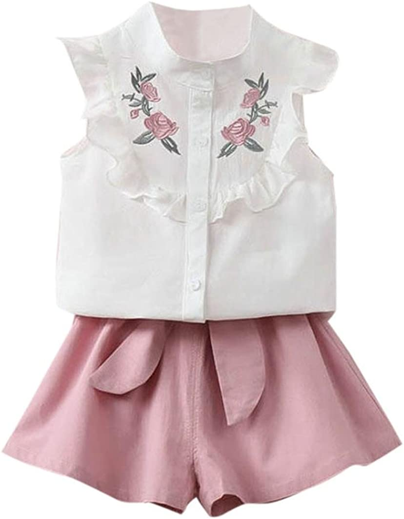 Mandystore 1 Set Toddler Kids Baby Girl Clothes Floral Embroidery Shirt Tops+Belt Pants Outfit Set