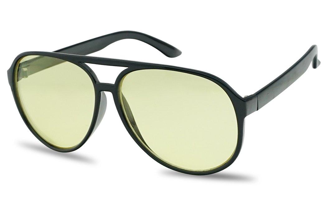 SunglassUP - 80's Retro Round XL Blue Blocking Aviator Bomber Sunglasses (Black, Yellow) by SunglassUP
