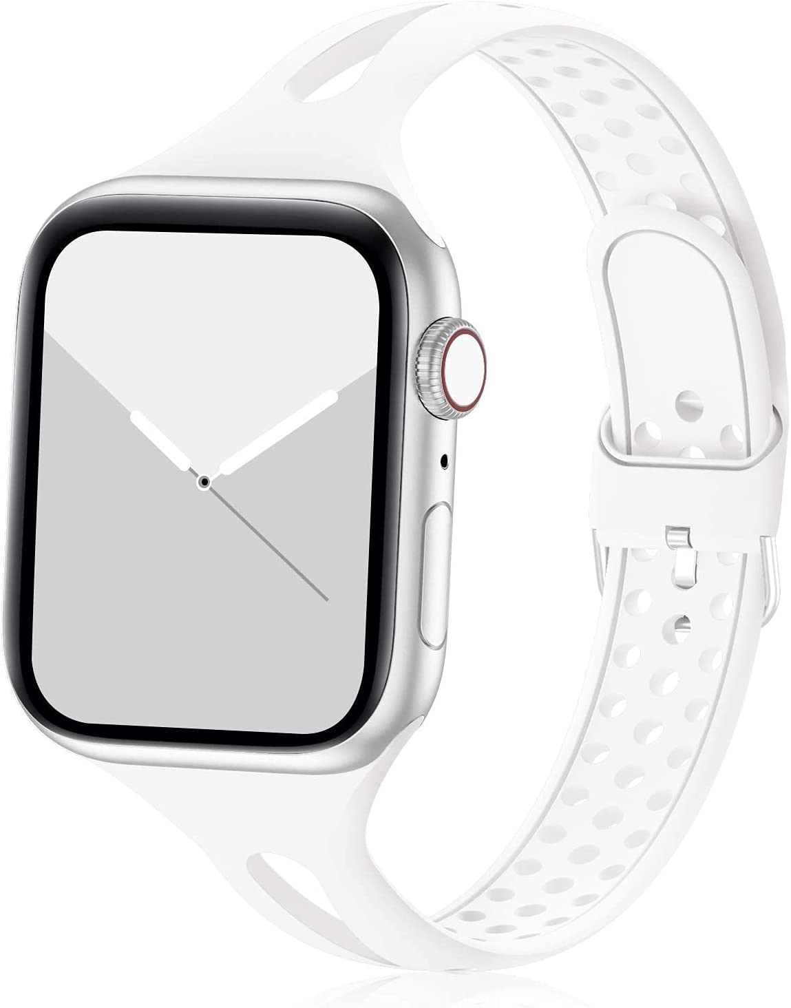 Bandiction Compatible with Apple Watch Bands 38mm 40mm Series 5 Series 3, Women Slim Silicone Sport Band Breathable iWatch Bands 38MM 40MM Narrow Watch Strap for iWatch Series 6 SE 5 4 3 2 1