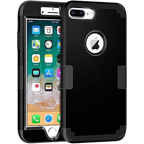 iPhone 8 Plus Case, Hython Heavy Duty iPhone 8 Plus Three Layer Full-Body Defender Shockproof Case Drop Protection Hybrid Hard Shell Soft Silicone Rubber Protective Cover for iPhone 8 Plus, Black