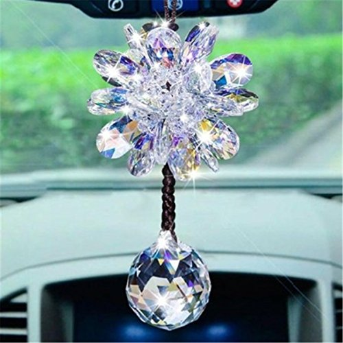 - Fochutech Crystal Ball Car Pendant Hand-Woven Lanyard Decor Lucky Safety Hanging Ornament Gift Rear View Mirror Accessories Auto Interior Dangle (Colorful White)