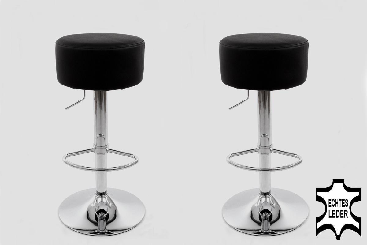 2x Barhocker schwarz ECHT LEDER höhenverstellbar runder Sitz klassisch gepolstert -