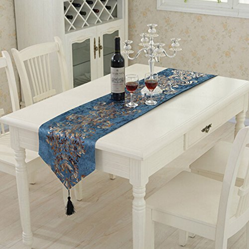 Shiny Luxury Damask Decor Tassel Wedding Table Runner-Dark