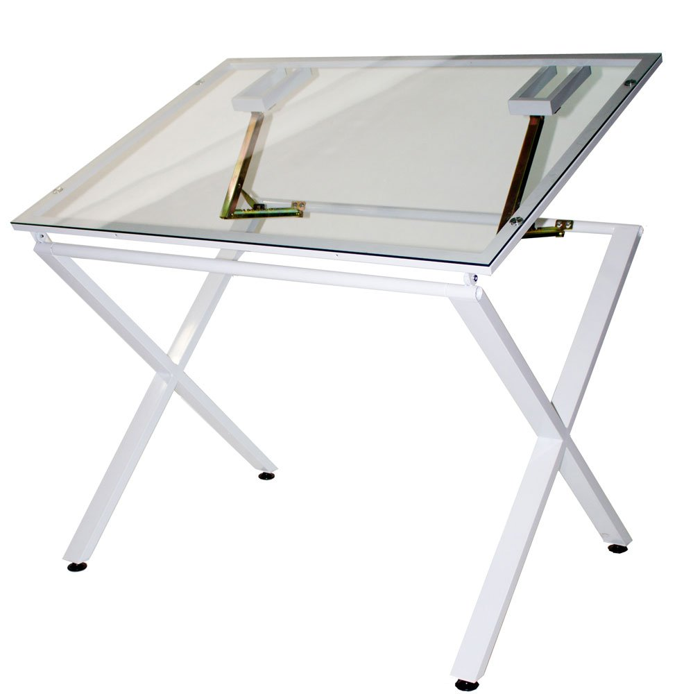Martin U-DS1500W X-Factor Drawing and Hobby Table with Large 30 by 42-Inch Glass Top, White by Martin