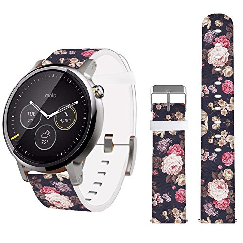 Floral Band for Moto360 2nd Gen Men's 42mm,Jolook Width 20mm Leather Replacements Bands Straps for Traditional Watches and Smart Watches that uses 20mm Spring Bars Band - Vintage Colorful Floral