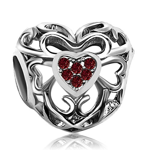JMQJewelry Heart Love Crystal January Red Charms Beads for Bracelets Valentine's Day