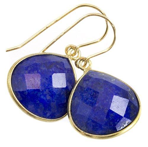 14k Yellow Gold Lapis Lazuli Earrings Fat Heart Teardrop Goldtone Bezel Faceted Stones Classic Simple