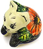 Polish Pottery Shelf Sitting Cat Figurine 3-inch Poppy Passion UNIKAT