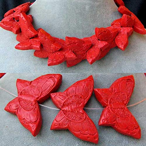 (1 Carved Red Cinnabar Butterfly Bead for Jewelry Making 6235)