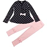Jastore Baby Girl Cute 2pcs Set Children Clothes Suit Top and Pants Fall Clothes (5T, Navy Dot)