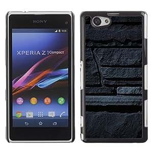 Be Good Phone Accessory // Dura Cáscara cubierta Protectora Caso Carcasa Funda de Protección para Sony Xperia Z1 Compact D5503 // Stone Wall Grey Art Architecture Design