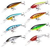 Zafina-UP Fishing Lures Set,8 PCS Large Hard Bait Minnow Lure,Slow Sinking Hard Lure with Barb Treble Hooks for Carp Bass Pike Trout Walleye (11 cm)